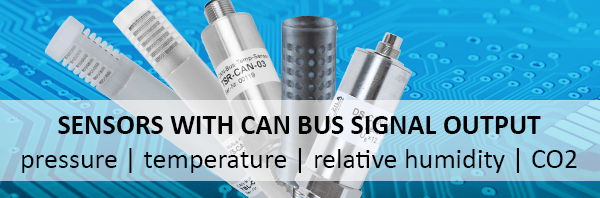 Sensors with CAN Bus Signal Output for pressure, temperature, relative humidity and CO2 measurement