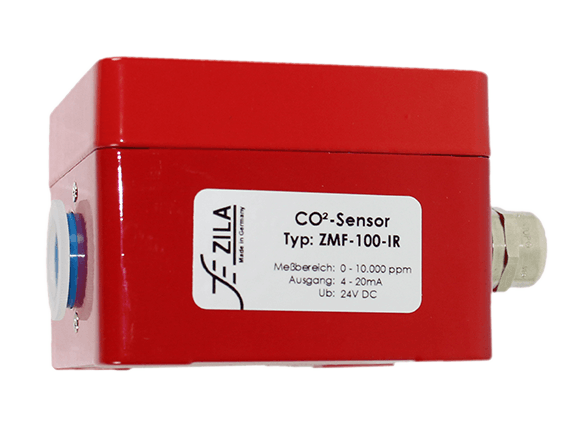 Co2 sensor for industrial applications in red aluminum housing