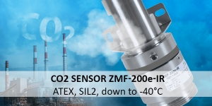 CO2 sensor ZMF-200e-IR: ATEX and SIL2 certified, for rough applications down to -40°C