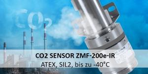CO2-Sensor ZMF-200e-IR: ATEX- und SIL2-zertifiziert, für raue Einsatzgebiete bis zu -40°C